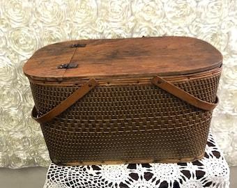 Vintage Picnic Basket Woven Wood Handles