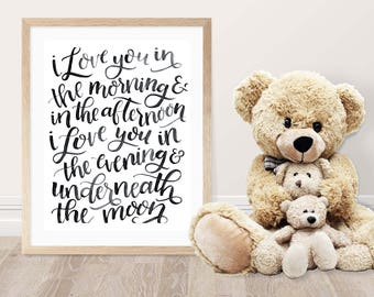 Love You in the Morning, 8x10, fine art print, nursery decor, nursery art, hand lettered, watercolor, black and white, skidamarink