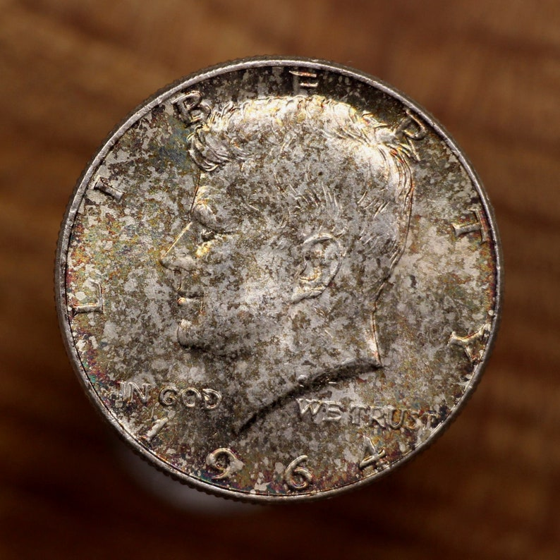 1964 U S  Kennedy Silver Half Dollar Coin, Brilliant Uncirculated  Condition, Rainbow Toning