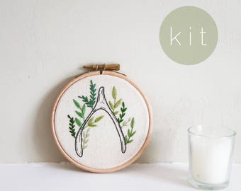 KIT - Wish Bone Embroidery Kit - DIY Embroidery Kit with Pattern