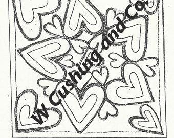 "31 Hearts, pattern by Primitive Grace, 20"" x 20"", on our unbleached linen"