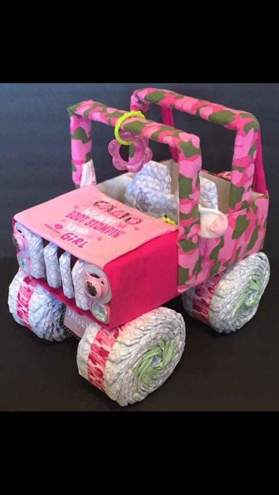 Baby Shower Centerpiece Jeep Diaper Cake Pink Camo Baby Etsy