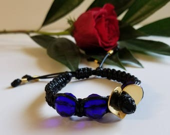 Dark blue faceted crystals bracelet