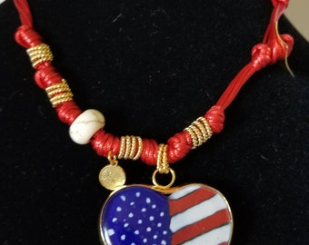 Heart with the USA flag necklace