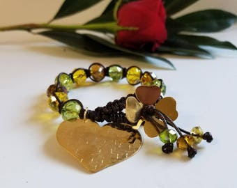 Heart bracelet with crystals