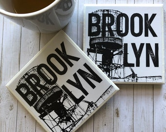 Brooklyn NYC Moving Gift, Water Tower Coasters, College Dorm Decor, Urban Chic Decor, Industrial Photography, Closing Gifts, Man Cave