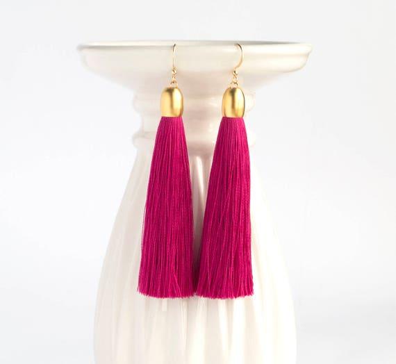 ba60fd76e Magenta Tassel Earrings Dark Pink Tassel Earrings Magenta | Etsy