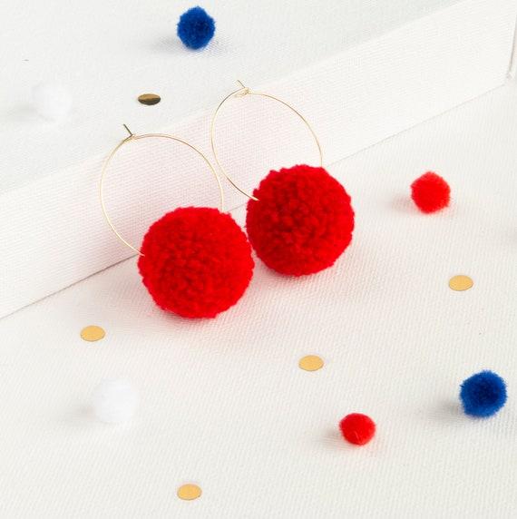 bbb8eec0f9adba Red Pom Pom Hoop Earrings Red Boho Earrings Cute Girly Red | Etsy