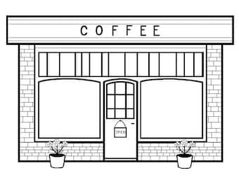 Coffee Shop Coloring Page