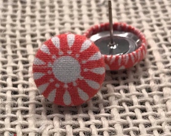 Coral colored floral fabric button earrings!