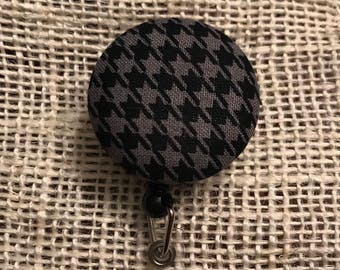 Black and gray houndstooth badge reel!