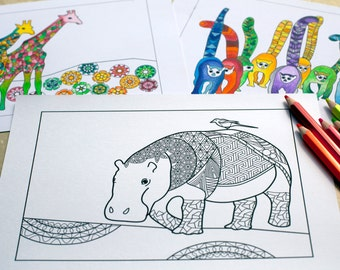 Hippo Birdie INSTANT Printable Coloring Page