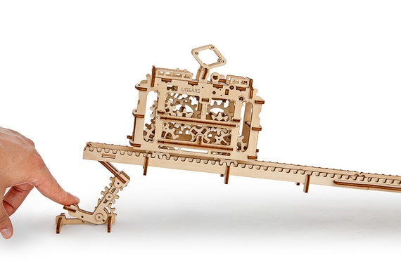 Ugears Tram Mechanical Wooden Model Kit 3d Puzzle Assembly Self Propelled