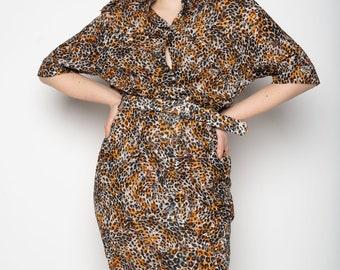 3560caea534033 Beige bruin grijs roest oranje Luipaard patroon licht Safari jurk M