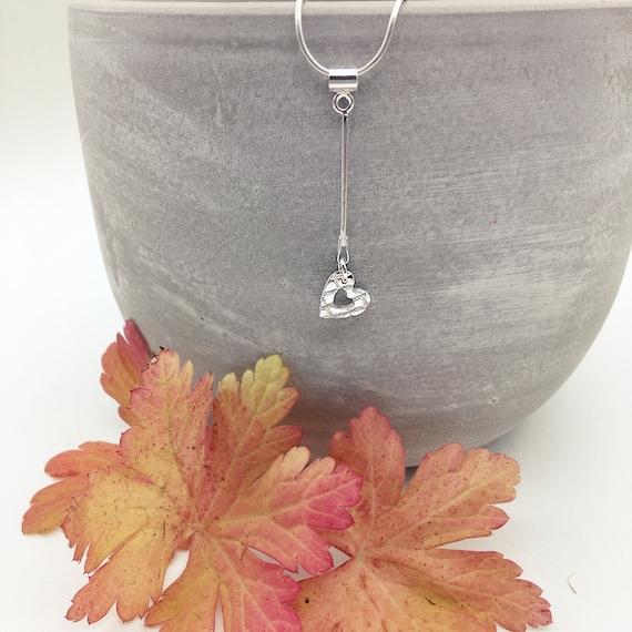 Heart Pendant, Sterling silver heart necklace, Drop Heart Chain