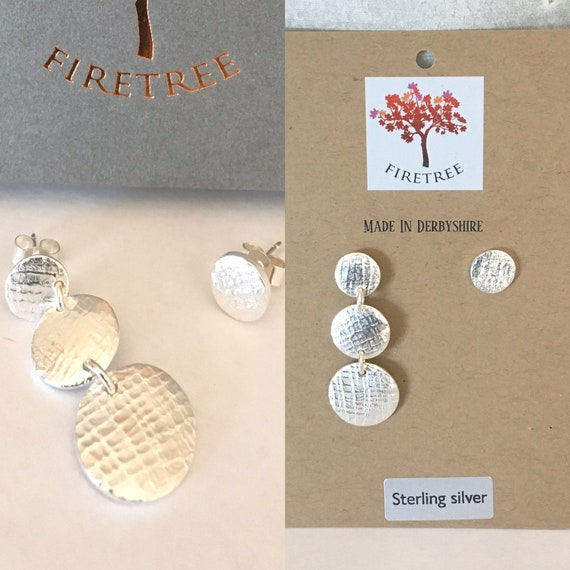 Mismatch Silver Stud Drop Earrings. Recycled Round Button Studs.