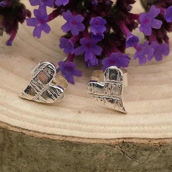 Love Heart Silver Stud Earrings