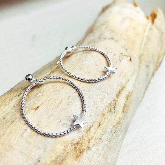 Star Hoop Stud Earrings, Sterling Silver