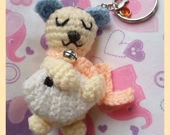 Maneki Neko Keychain with Koi Carp ( Lucky Cat crochet )