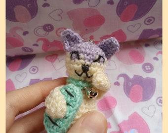 Maneki Neko Keychain with Koban ( Lucky Cat crochet )