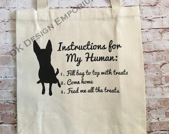 Dog Instructions Grocery Bag - Canvas Tote Bag - Funny Market Bag - Reusable Grocery Shopping Bag - Shopping Bag - Eco-Friendly Bag