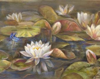 Water lilies, Flower painting, Original flower painting, Flower artwork, Water lily painting,  Water lily flowers, Painting gift