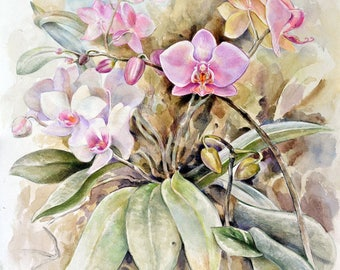 Painting, flower painting, Watercolor painting, Orchids painting, Orchids flowers, Painting gift