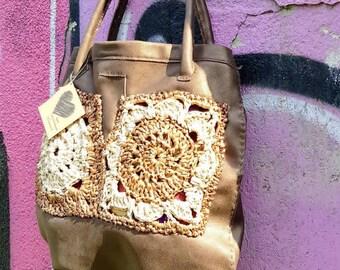 leather/raffia yarn crochet elegant bronze large shoulder bag