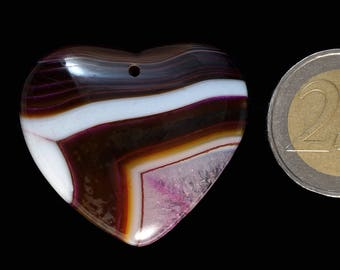 Unique brown, white, pink druzy geode agate, heart shape  (EA1213)