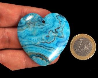 Unique blue Crazy Lace Agate pendant stone,heart-shaped (EA1296)