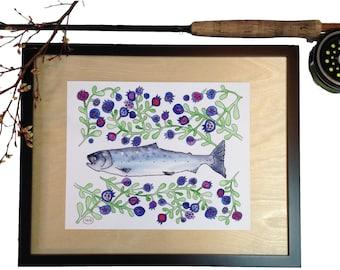 Salmon Blues, Alaska Silver Salmon, Salmon, 8 x 10 Art Print
