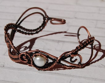 wire wrapped bracelet charm- copper bracelet with pearl -wire wrap jewelry-bracelet with stone- pearl-bracelet for her