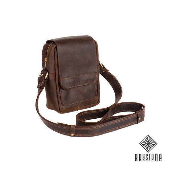 462854130 Mini Leather Handbag Messenger bag 811 Genuine leather Men | Etsy
