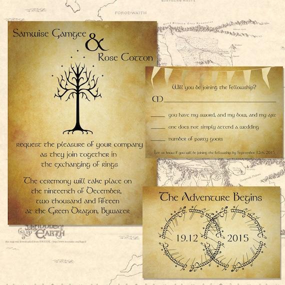 Herr Der Ringe Hochzeit Einladung Set Digital Etsy
