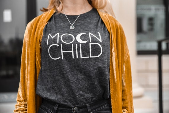 MOON CHILD Tee, Off Shoulder, Moon Child, Moonchildren, Moon Child Tee, Moon Child Tshirt, Moon Shirt, Cancerian Tee, Moon Tshirts