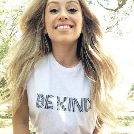 BE KIND Tee, White Basic Boyfriend Tee, Kind tshirt, Be Kind Tshirts, Be Kind Tops, Retro Be Kind, Be Kind Tees, Kindness Tops