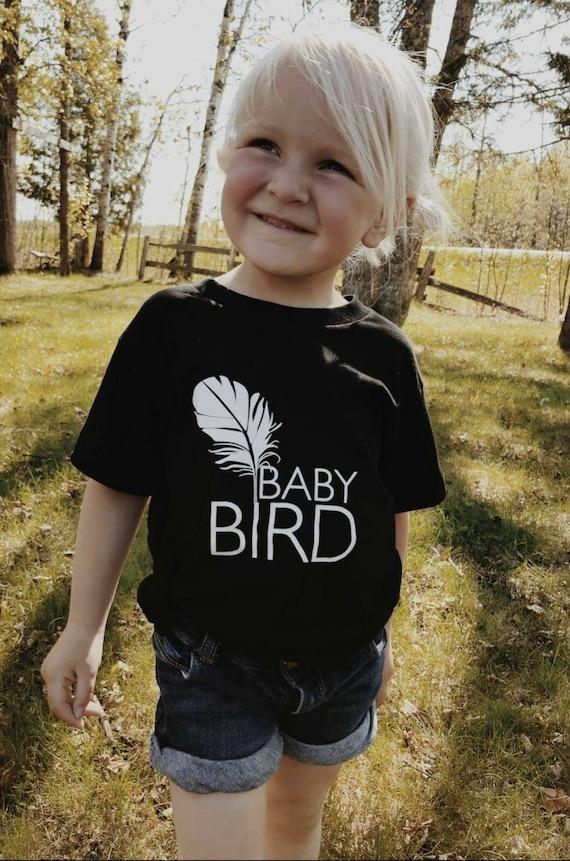 Baby Bird Tee, Black, Baby Bird Tshirt, Baby Bird Tee, Baby Bird Shirt, Baby Gift, Baby Shower Gift
