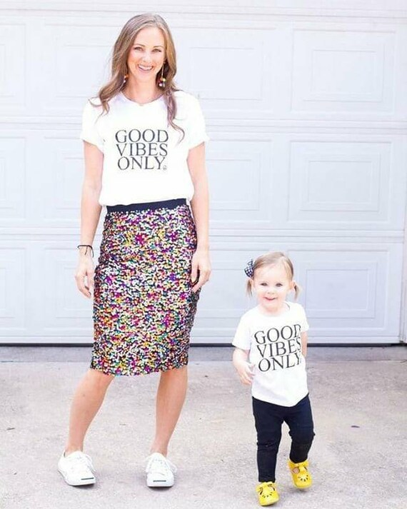 2 Piece SET, Good Vibes Only White, Good Vibes only Tshirts, Good Vibes Only Shirts, Mama and Me Sets