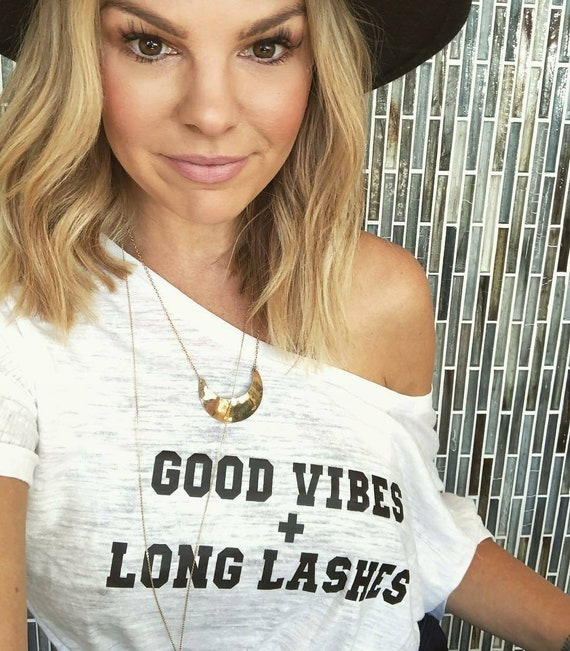 GOOD VIBES + Long Lashes, Lashes Tee, Long Lashes Tshirt, Lash Tshirt, Good Vibes Tee, Good Vibes Tees