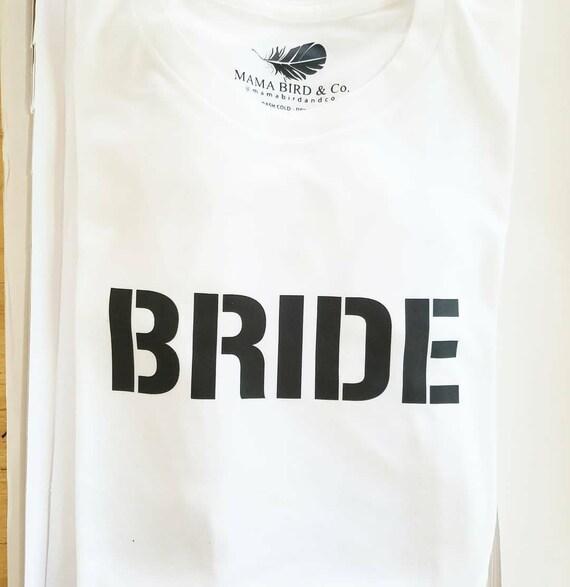 BRIDE Tshirts, Bride Tshirt, Bridal Tops, Bachelorette Party Tshirts, Bridal Tshirts, Bridal Party