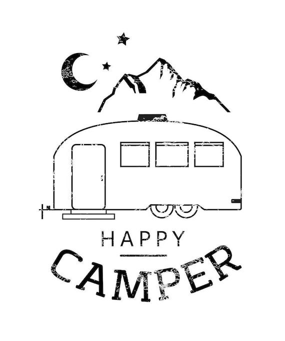 HAPPY CAMPER, Happy Camper Tshirt, Happy Camper Tank, Airstream Tshirt, Moon Tshirt, Happy Camper Shirt