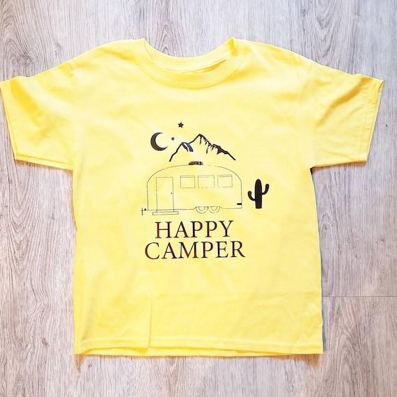HAPPY CAMPER Kids Tee, Happy Camper Tshirts, Happy Camper Tees, Happy Camper Shirts