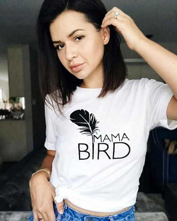 MAMA BIRD, White Boyfriend Tee, Mama Bird, Mama Bird Tee, Mama Bird T-shirt, Mama Bird Shirt, Mama Bird, Mama Bird Top