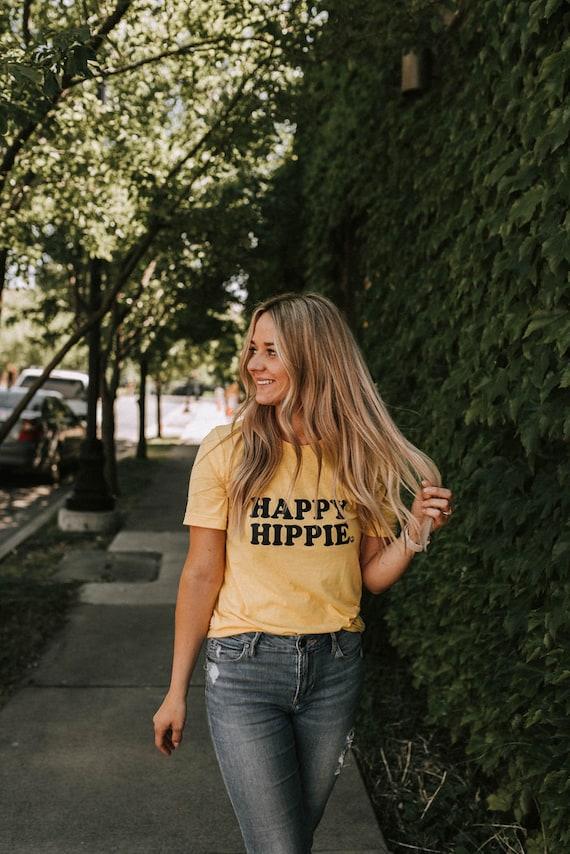 HAPPY HIPPIE Tees, Hippie Tee, Hippie Tshirts, Hippie Tops, Hippie Mom Tees, Hippie Shirts, Boho Clothing