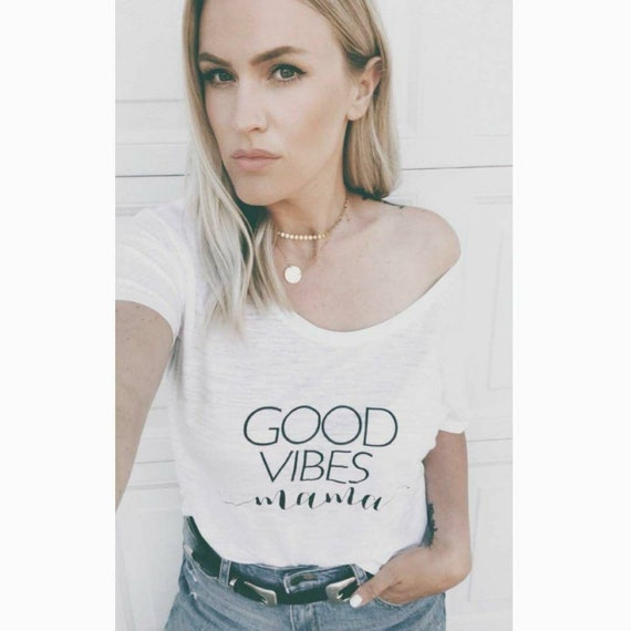 GOOD VIBES MAMA, Short Sleeve (Off The Shoulder) Tee, Good Vibes Mama, Good Vibes Tee, Good Vibes Mom, Positive Tee, Good Vibe T, Good Vibe