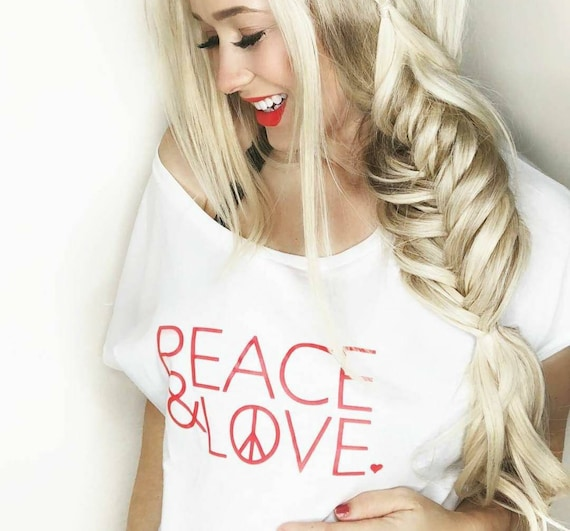 PEACE & LOVE Tee, Red Ink, Peace Tee, Love Tee, Peace and Love, Valentine's Day Tshirts, Heart Shirts, Peace and Love, Love Tshirts