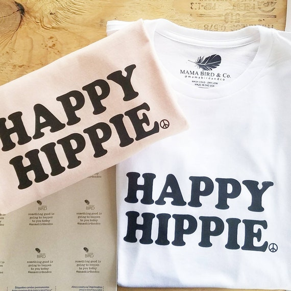 HAPPY HIPPIE Tees, Hippie Tee, Hippie Tshirts, Hippie Tops, Hippie Mom Tees, Hippie Shirts, Boho Clothing