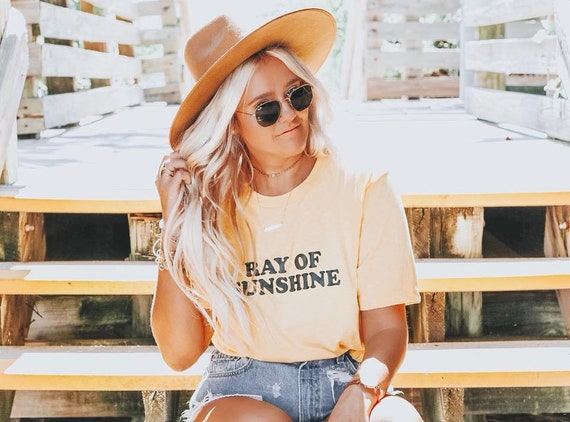 RAY OF SUNSHINE, Yellow Gold Tee, Sunshine Vibes, Ray Of Sunshine Tee, Ray Of Sunshine Tshirt, Ray of Sunshine, Good Vibes Tshirt