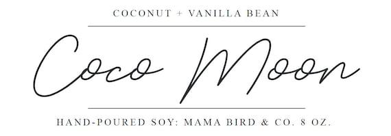 COCO MOON, Soy Candle, Vanilla Bean, Coconut, Soy Tin Candles, 8 OZ