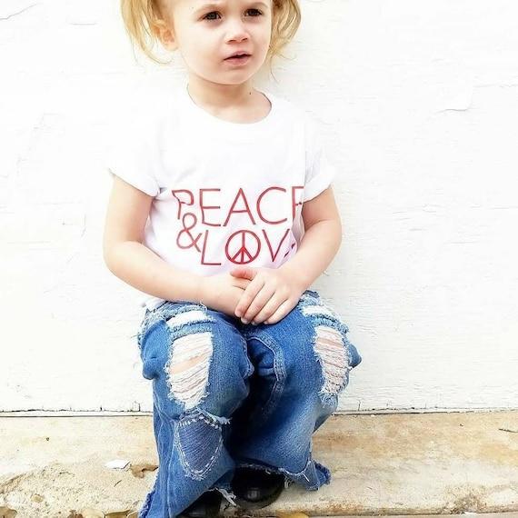 Kid's Tee, PEACE AND LOVE Tshirt, Peace Tshirt
